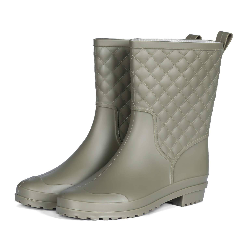 PENNYSUE Womens Mid Calf Rain Boots Outdoor Work Rubber Booties Short Waterproof Garden Shoes