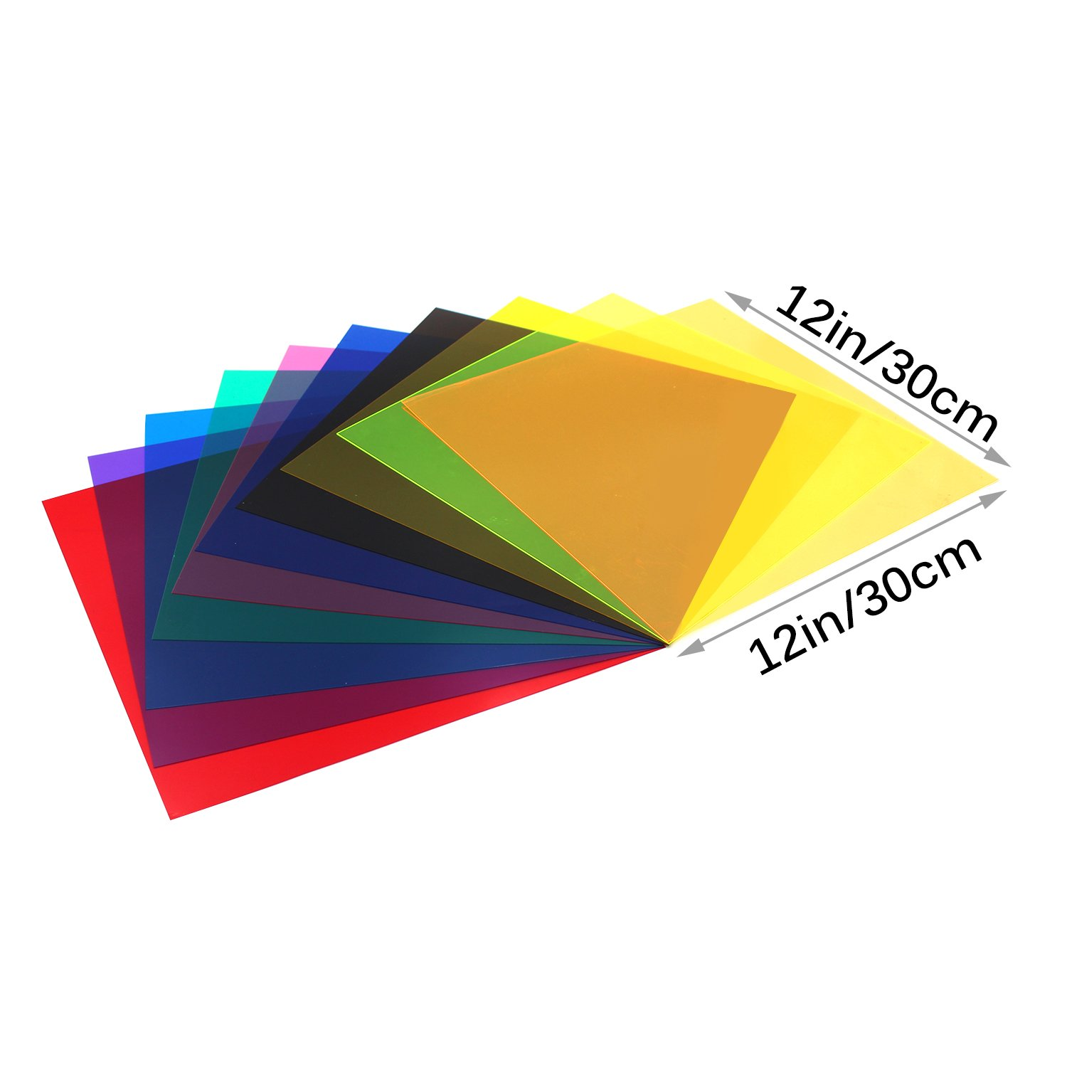 10 Pieces Colored Overlays Light Gels Transparency Color Film
