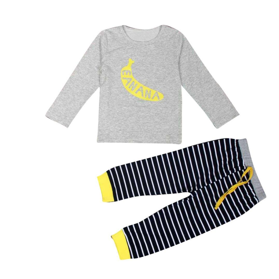 For 1-6 Years old Girls, Clode® 1Set Infant Baby Boys Girls Banana Pattern T-shirt Tops and Stripe Long Pants Outfits Clothes Clode-TS-007