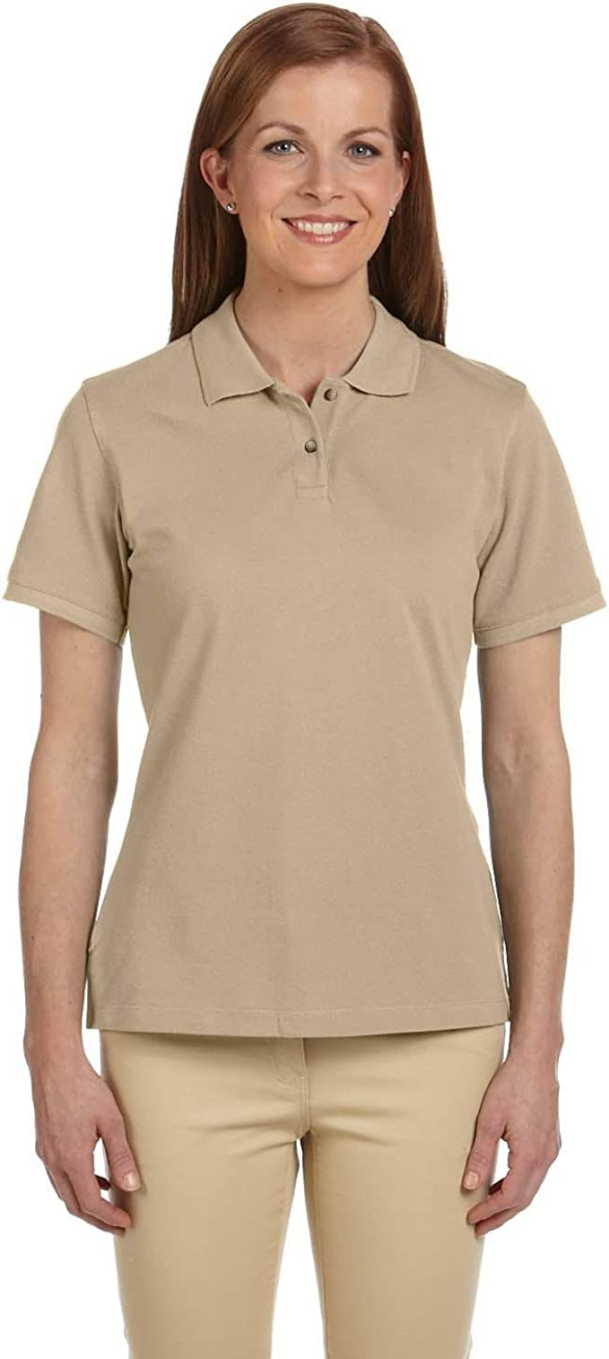 Cotton Pique Short-Sleeve PoloL DARK GREEN M200W Harriton Ladies 6 oz