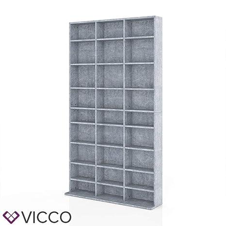 Vicco CD DVD Blu-ray Regal CD Ständer - Platz für 800 CDs oder 400 DVDs in  fünf Farben (Beton)