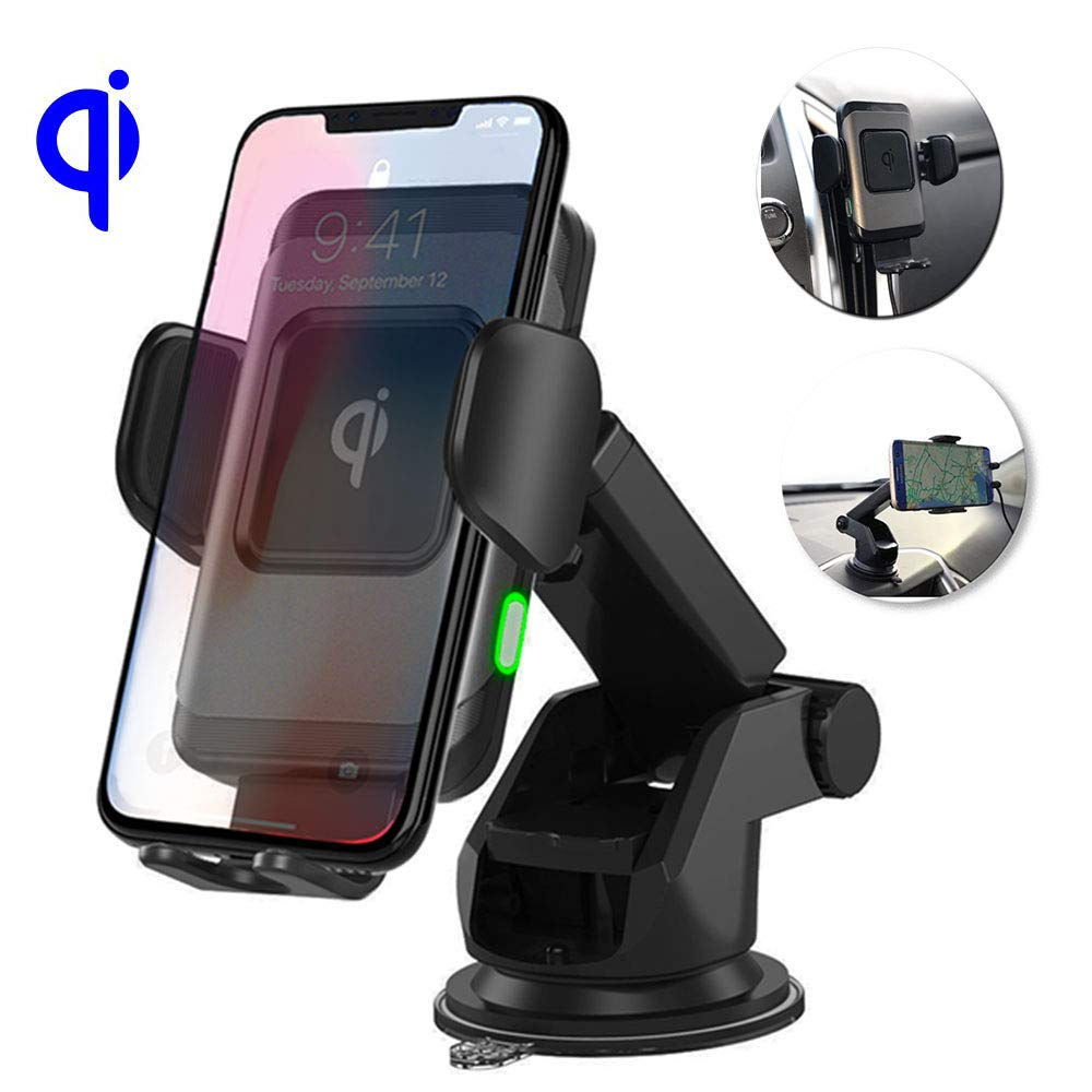 SmartG Wireless Car Charger Mount, Auto-Clamping, Fast Charging, 10W/7.5W/5W Air Vent/Windshield/Dashboard Holder, for iPhone MAX/XS/XR/X/8/8+ & Samsung S10/S10+/S9/S9+/S8/S8+/Note9/8