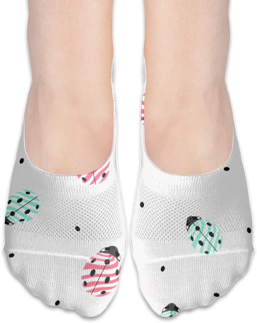 Pin-1 Womens Polyester Cotton Non Slip Flat Boat Line Crew Socks Low Cut Ankle Socks Boat Leggings Ladybug