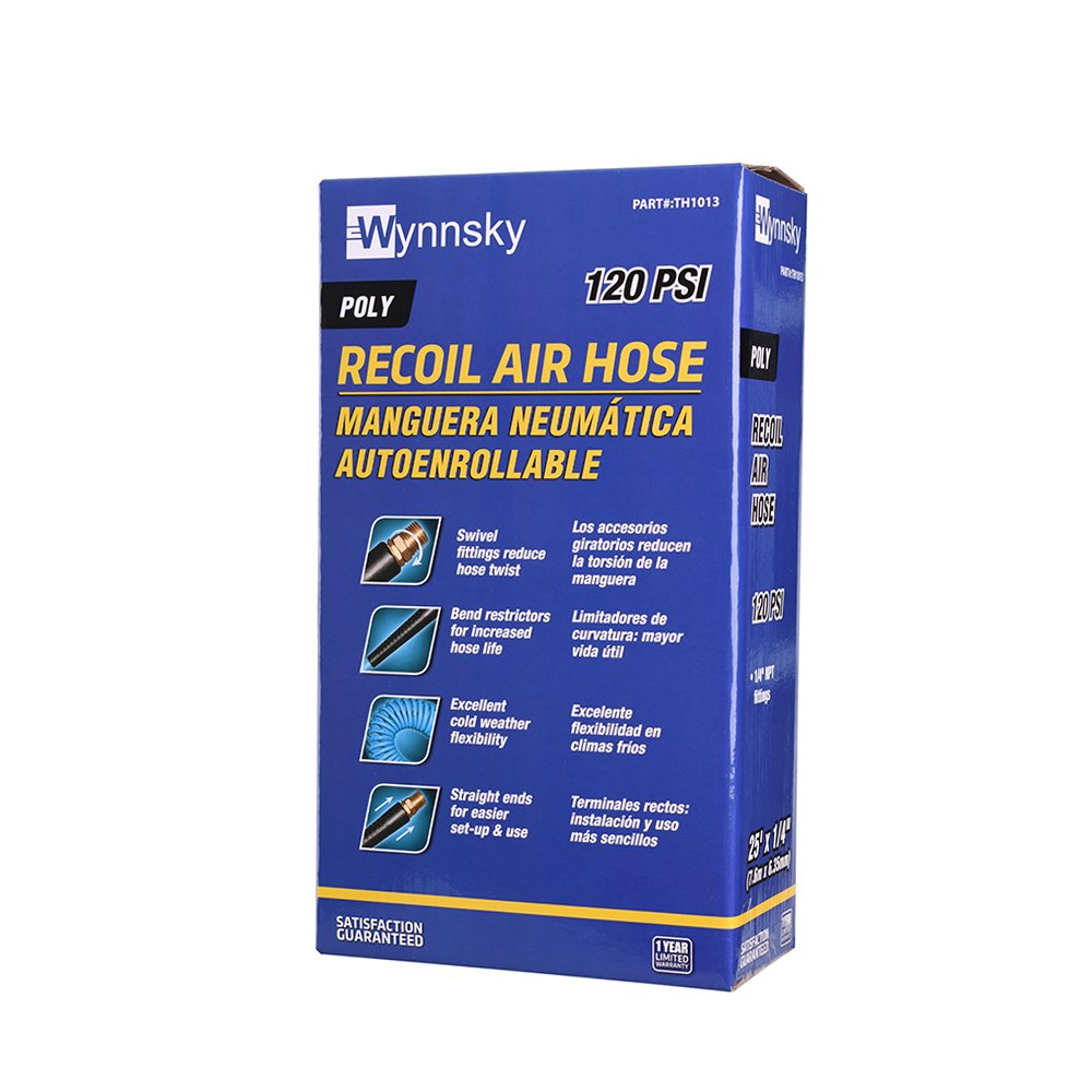 WYNNsky 1/4''x 25ft Recoil Poly Air Hose, Air Compressor Hose With Swivel Ends And Bend Restrictor Fittings by WYNNsky (Image #6)