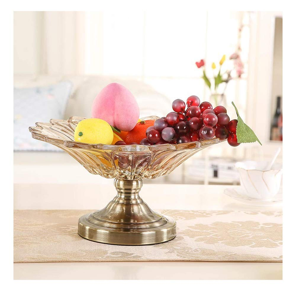 THOR-YAN 高級高級ヨーロッパのガラスフルーツプレート花びらのほとんどリビングルームガラス製品クリスタルガラスフルーツプレート -フルーツバスケット   B07R9Q656B
