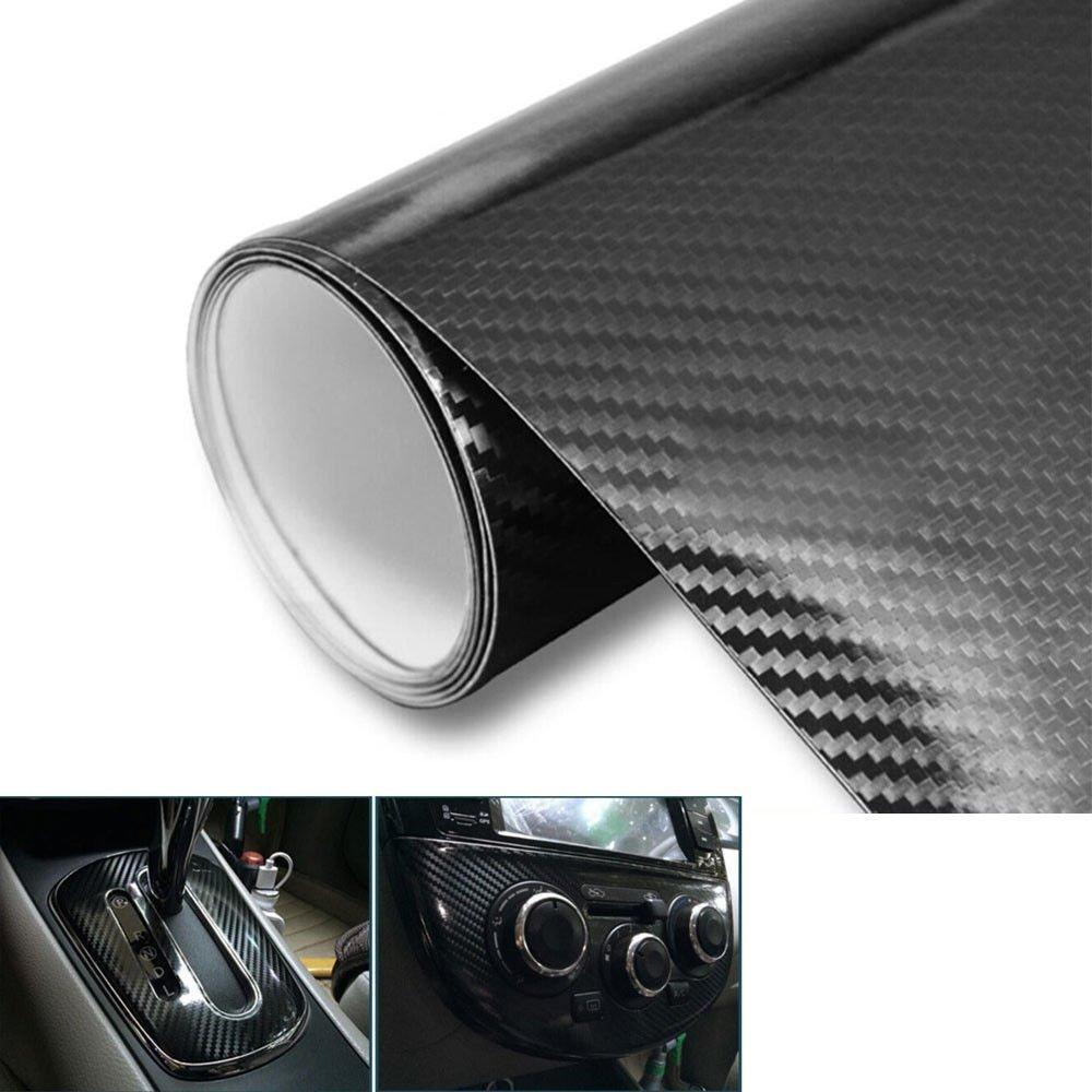 Kunfine Kunfine Pellicola in fibra di carbonio 5D per restyling dellauto anti bolle colore nero lucido 200 x 50 cm impermeabile adesivo per auto tuning Fai da Te