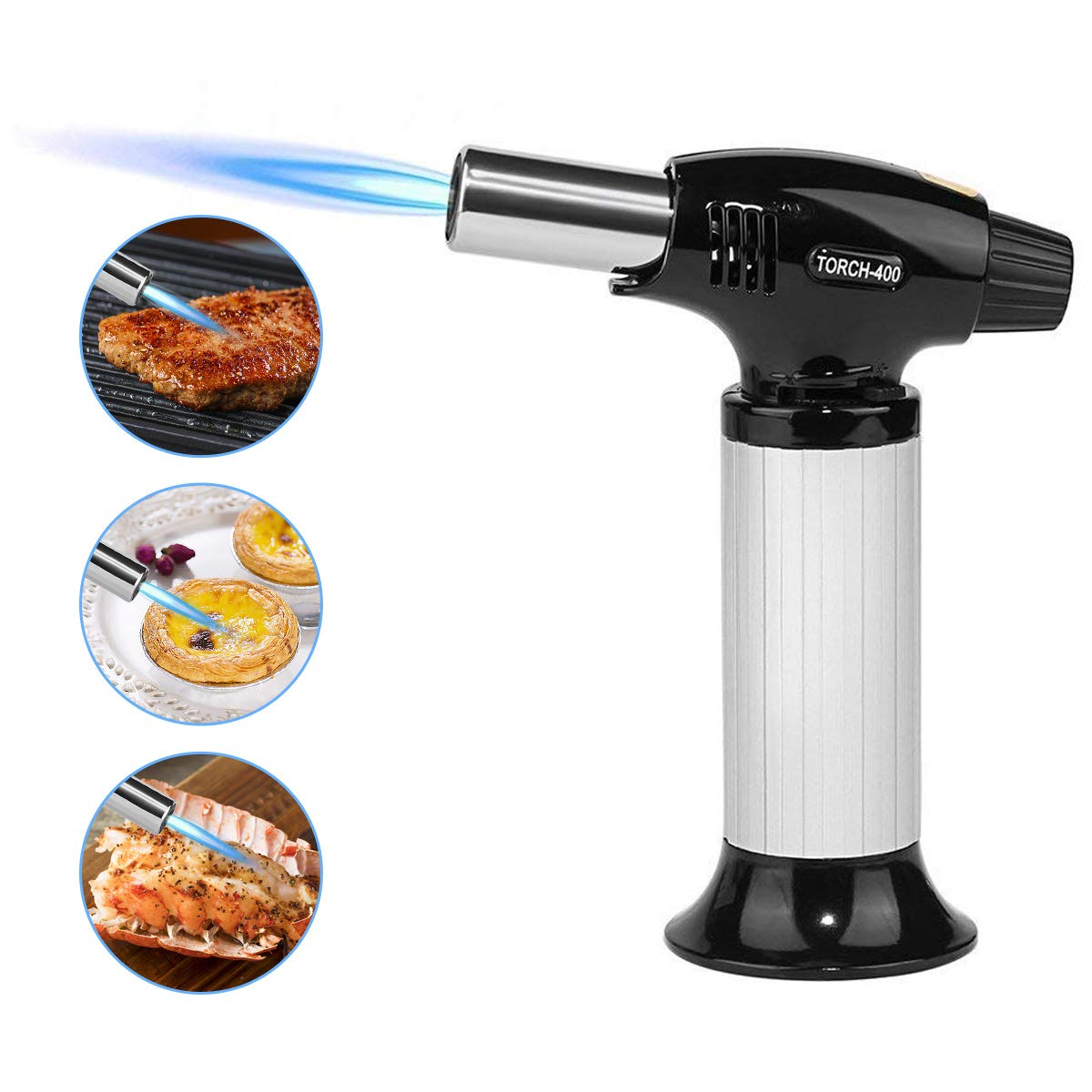 Blow Torch / Culinary Torch - Kitchen Cooking Butane Torch - Creme Brulee Torch - Adjustable Flame Lighter with Safety Lock for Cooking, BBQ and Baking, DIY - Butane Gas Not Included (Silver) IntiPal