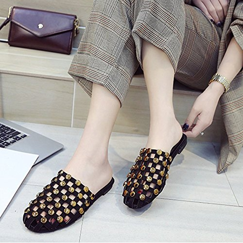 Black2 Hollow Indoor Rivets Girls Out Slip JULY Fashion Women Studded Outdoor T on Close Slippers Flat Toe Sandals for Dress qSH0Tt