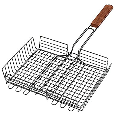 Large BBQ Barbecue Adjustable Grilling Basket 10  x 12  for Fish, Meat and Vegetables!