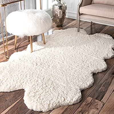 """nuLOOM Faux Sheepskin Matix Shag Rug, 3' 6"""" x 6', Natural - Style: Shags, Contemporary Color: Natural Actual Size: 3' 6"""" x 6' - living-room-soft-furnishings, living-room, area-rugs - 613TjERPNSL. SS400  -"""