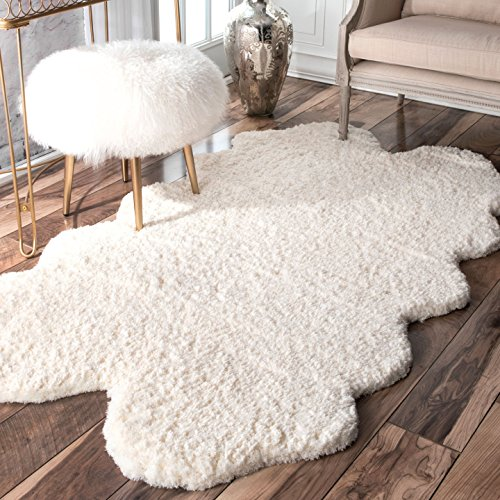 nuLOOM 100-Percent Polyester Faux Sheepskin Matix Shag Area Rug, 3-Feet 6-Inch by 6-Feet, Natural (Shag Natural)