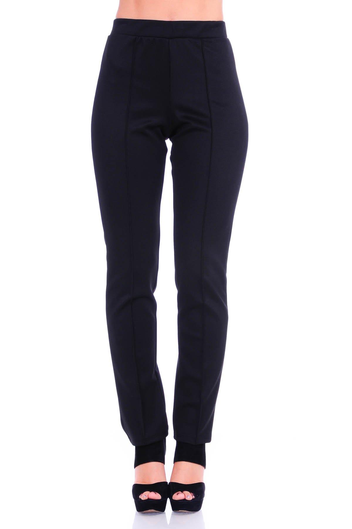 SR Women's Solid Stretch Straight Leg Slim Fit Pants, Large, Black