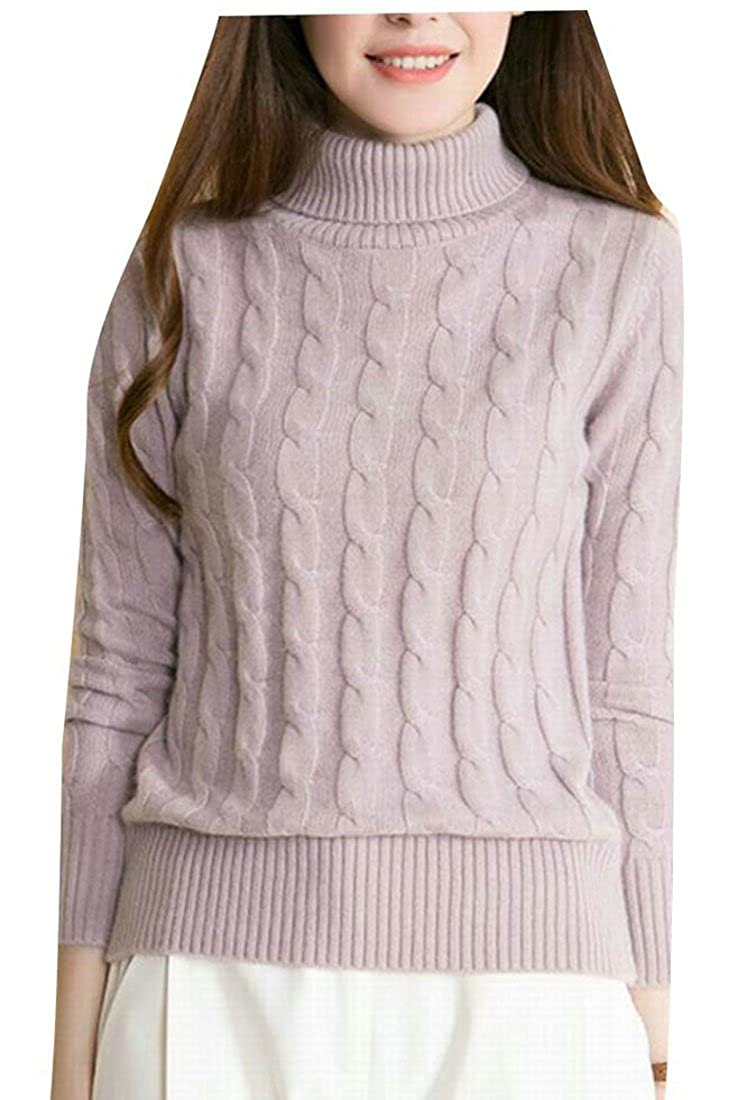 2 GAGA Women's Turtleneck Long Sleeve Solid color Knit Sweter Jumper with Cable Pattern