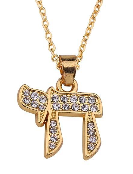 8a4705ceea237 Amazon.com: Hebrew Letter Chai Pendant Good Luck Symbol Jewish ...