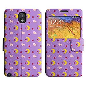 AADes Scratchproof PU Leather Flip Stand Case Samsung Galaxy Note 3 III ( Moon And Star )