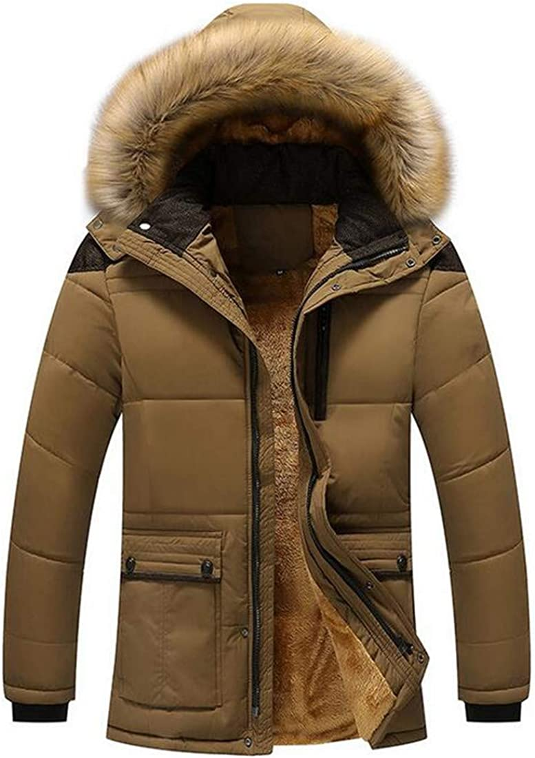 XTX Mens Quilted Fleece Warm Faux Fur Hooded Windproof Winter Down Jacket Brown US S