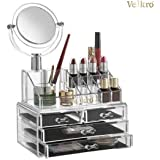 VelKro Acrylic 4 Drawers with Removable Mirror Cosmetic Organizers with Removable Mesh Padding (Transparent)