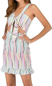 Geilisungren Mujer Rayas de Colores 2 Piezas Conjunto Vestido Flor ...