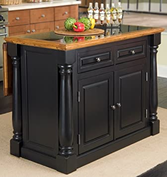 Home Styles 5009 94 Monarch Granite Top Kitchen Island, Black And  Distressed Oak Finish