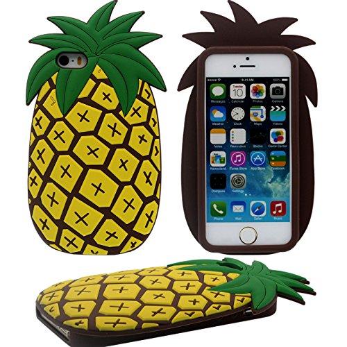 3D Créatif Ananas Forme Souple Silicone Housse Etui de Protection Case pour Apple iPhone 5 5S 5C iPhone SE - Marron