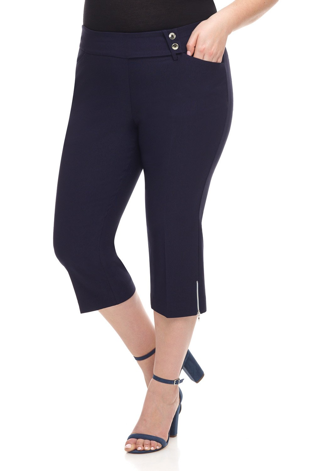 Rekucci Curvy Woman Plus Size Chic Capri with Zipper Detail (20W,Navy)