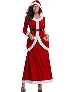 Amazon.com: Disfraz de Papá Noel para mujer con capucha ...