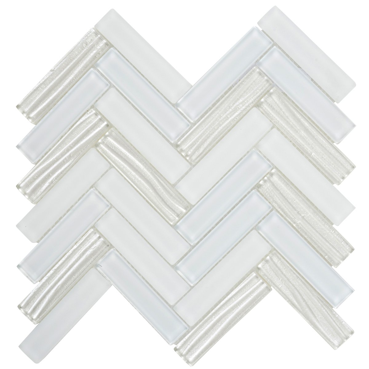 Modket TDH103MO Super White Crystal Glass Mosaic Tile, Metallic Wave Cold Spray, Matte Blended Herringbone Pattern Backsplash