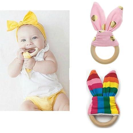 Inchant bricolaje mordedor 2pcs bebé Orejas de conejo Orgánica mordedor de madera para el juguete molares