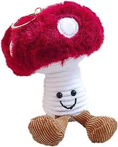 ZOONAI Cartoon Plush Fluffy Fruit Keychain Cute Avocado Apple Pear Mushroom Key Chain Kids Toy Women Girls Bag Backpack Pendant Keyring (Mushroom)