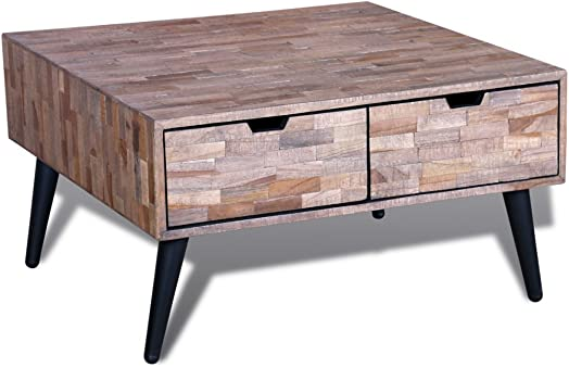 Festnight Console Table with Drawers TV Cabinet Sideboard Coffee Side Table Reclaimed Teak Wood Nightstand for Living Room Home Office Furniture