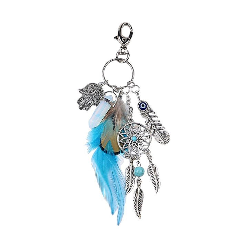 Wcysin Dream Catcher Keychain Fashion Silve Boho Ornament Feather Key Ring