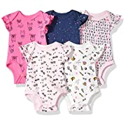 Rosie Pope Baby Girls 5 Pack Bodysuits (More Colors Available), School Theme, 0-3 Months