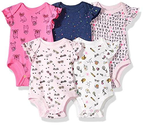 Rosie Pope Girls Baby 5 Pack Bodysuits, School Theme 3-6 Months -