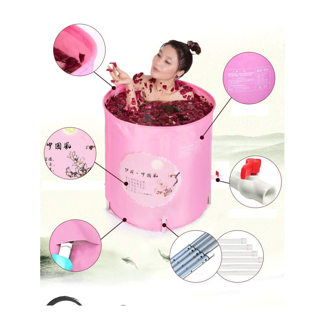 YONGYONG Chinese Style Pink Elegant Bathtub Bath Tub 60 * 60cm (Color : Pink) by Yongyong (Image #1)