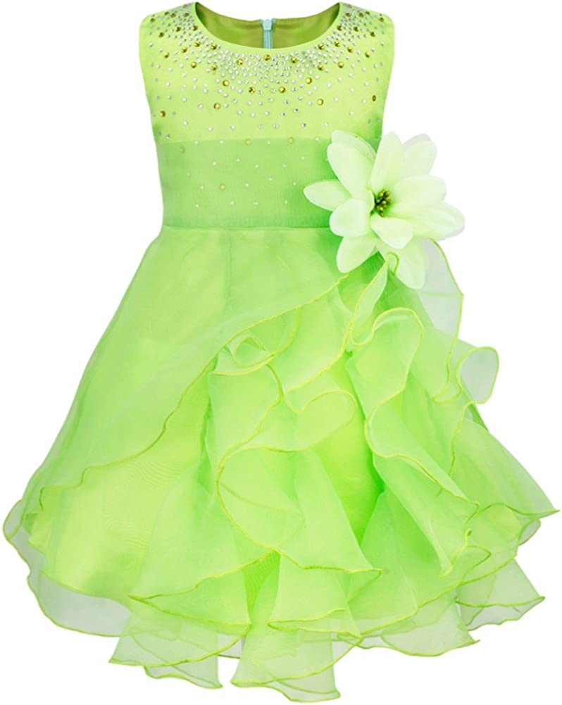 iEFiEL Baby Girl Cascading Organza Ruffle Flower Girl Dress Princess Birthday Baptism Gown