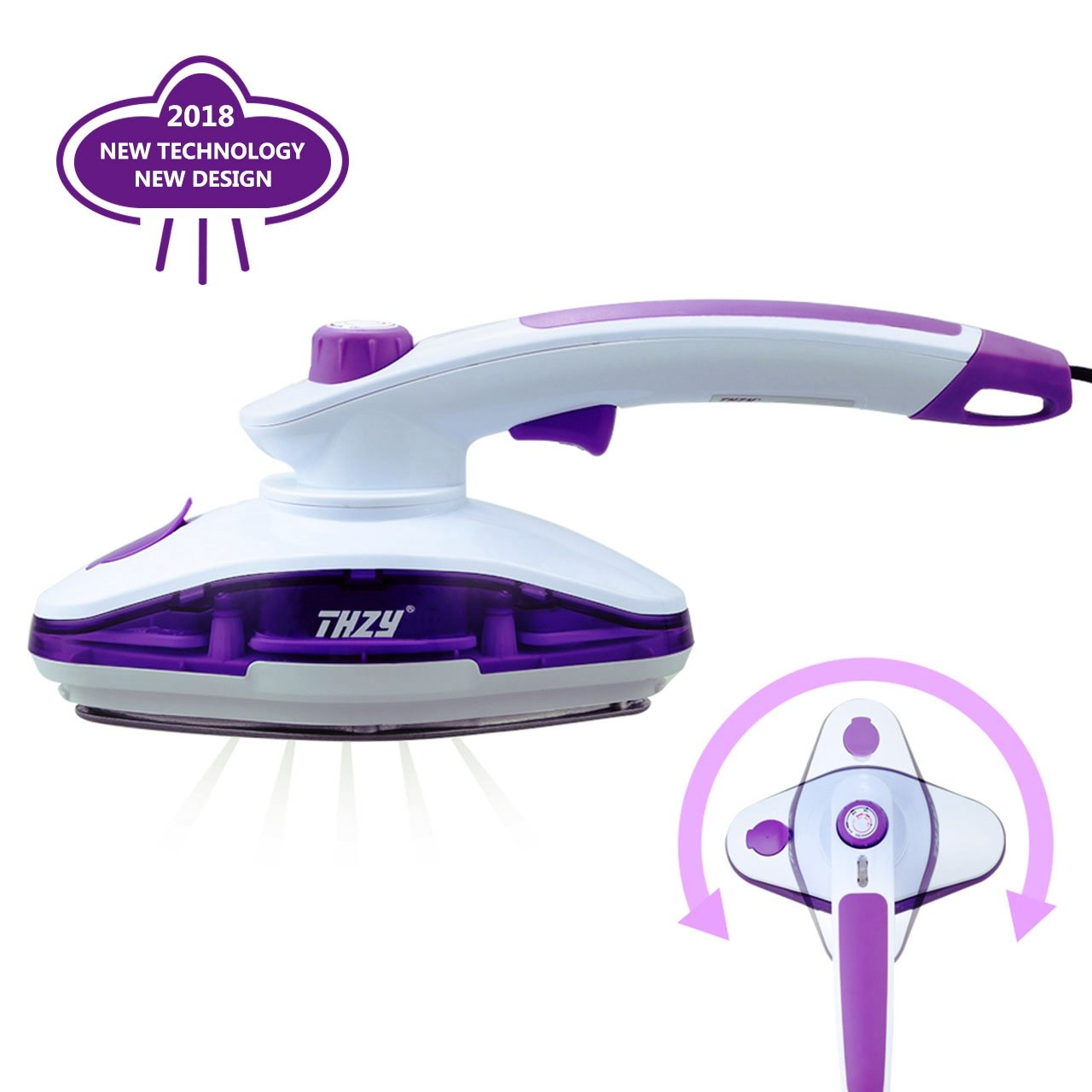 THZY Handheld Garment Fabric Dual-use for Steamer Best Fast Heat-up Portable Steam Iron Wrinkle Release with Adjustable Temperature Button for Home and Travel, 2 Years Warranty