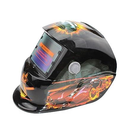 Hanbaili Casco de soldadura, garra fantasma de plata Casco de oscurecimiento automático del casco de