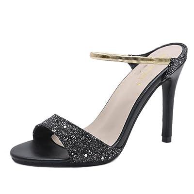GAOLIXIA Femmes PU Open Toe Sandals été brillant noir pantoufles Fashion Stiletto High Heels