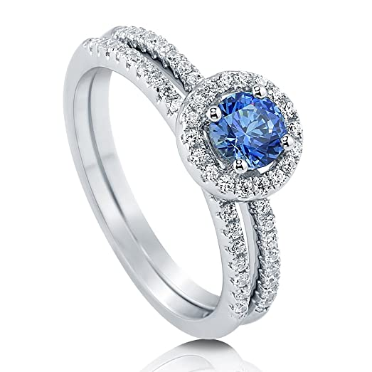 BERRICLE Rhodium Plated Sterling Silver Halo Promise Ring Set Made with Swarovski Zirconia GVcz78Z