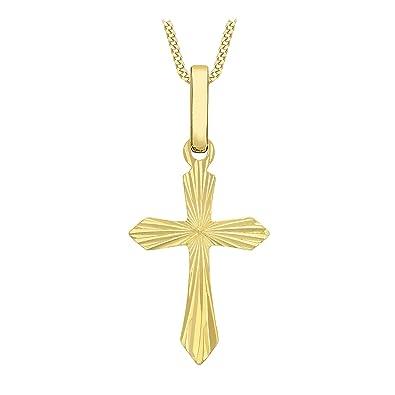 Carissima Gold 9ct Yellow Gold Design Cross Pendant Necklace of 45.72cm 7Tz10m