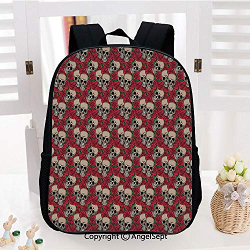 School Backpack,Graphic Skulls and Red Rose Blossoms Halloween