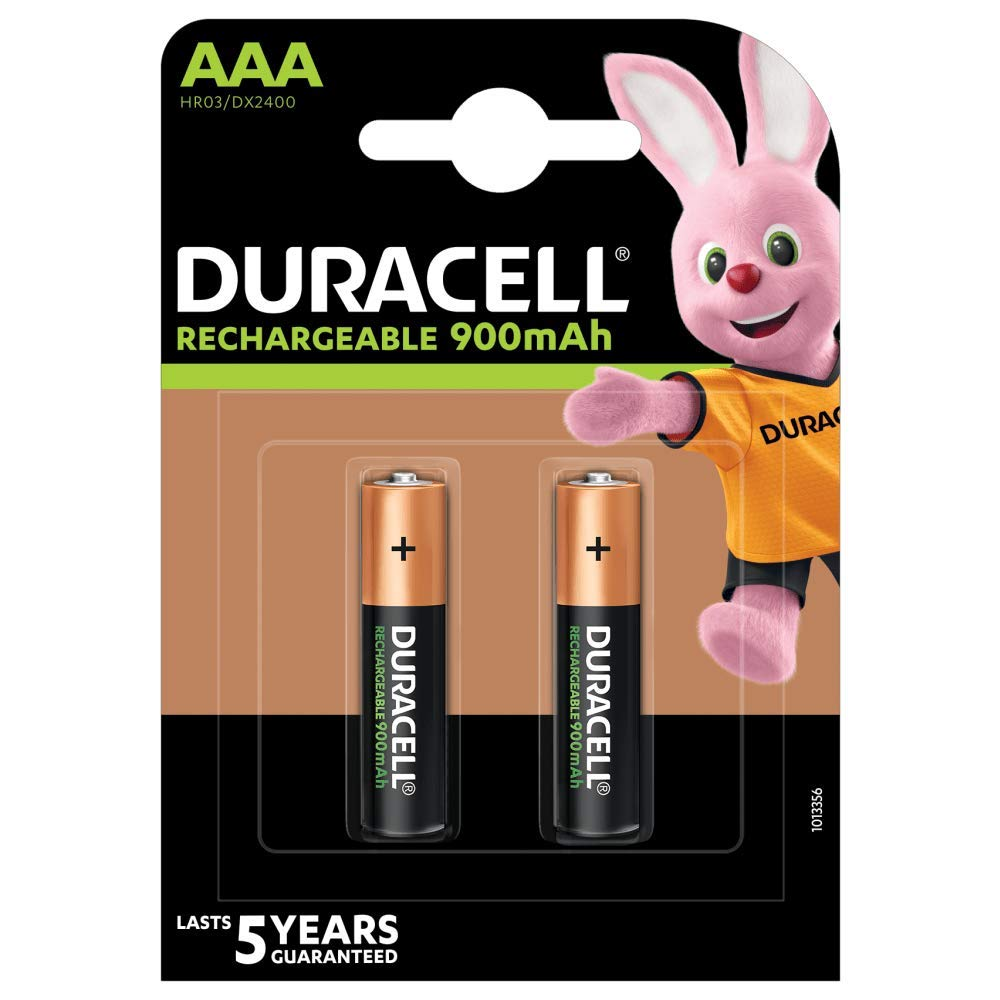 Duracell Rechargeable AAA 900mAh Batteries, Pack of 2