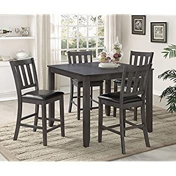 554038a7f9 Amazon.com - Fulton Grey Wood Counter Height Table by Crown Mark ...