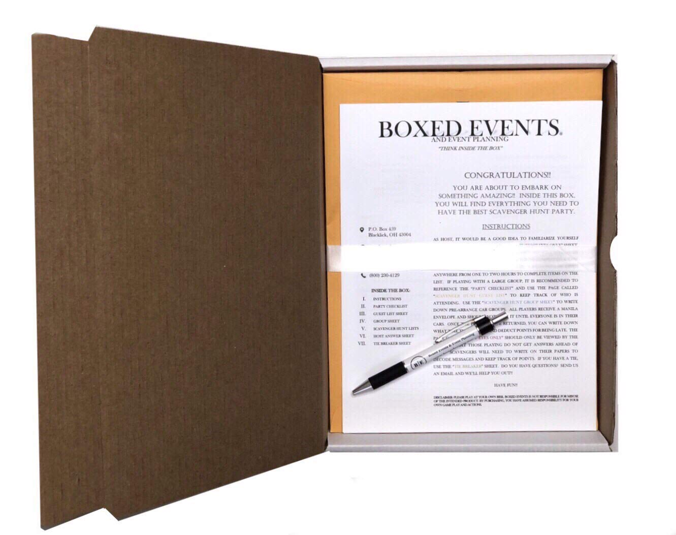 Scavenger Hunt Game Party Box - Fun for All Ages - Everything Included to Have A Party - Three Faces by Boxed Events & Event Planning Co.