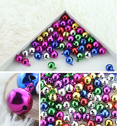 YAKA 100pcs Mix christmas jingle bells for crafts,Jewel Tone Aluminum Bells, Xmas (Tone Wedding Bell)
