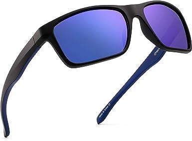 JIM HALO Polarizadas Deportivas Gafas de Sol de Espejo Wrap Alrededor Conducir Pescar Hombre Mujer(Negro/Azul Espejo): Amazon.es: Ropa y accesorios