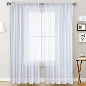 SpaceDresser Basic Rod Pocket Sheer Voile Window Curtain - Home Decoration for Kitchen, Bedroom and Living Room Sheer Voile Curtains, 2 Panels (White, 52 W x 84 L)