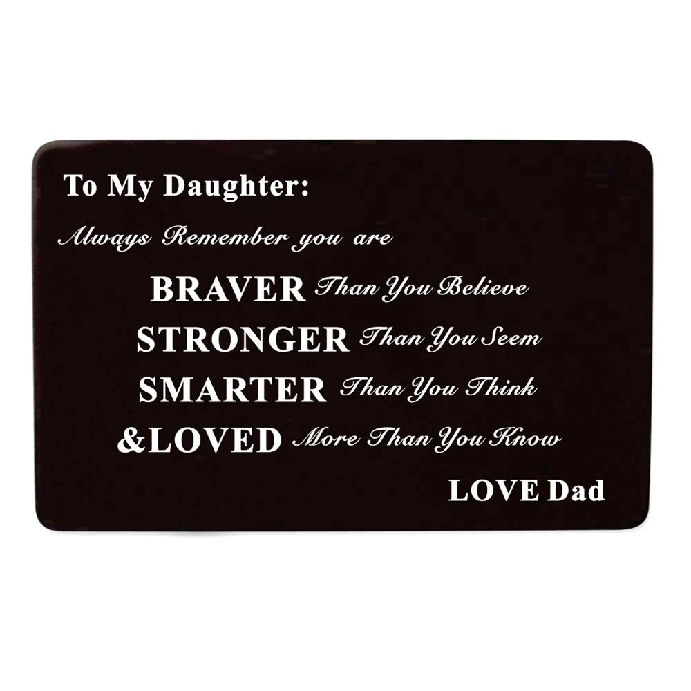 Laser Engraved Aluminum Metal Wallet Card Love Note Insert Card Gift for Daughter Birthday Gift from Dad Father