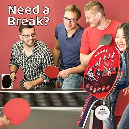 SwissSpin Ping Pong Paddle Set - Kit of 4 Premium Table Tennis Rackets with 8 Pro Tournament ITTF Ping Pong Balls - Includes Portable Storage Case