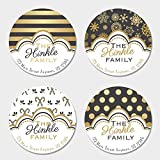 40 Round Personalized Black & Gold Christmas Themed Address Labels (RC11)